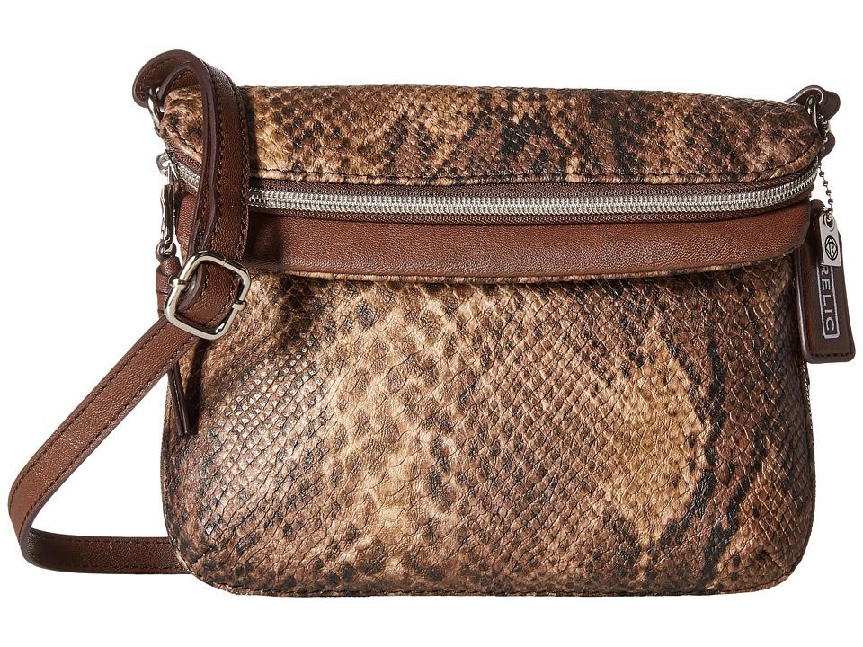 Relic - Cora East West Flap Crossbody (Brown Snake) Cross Body Handbags