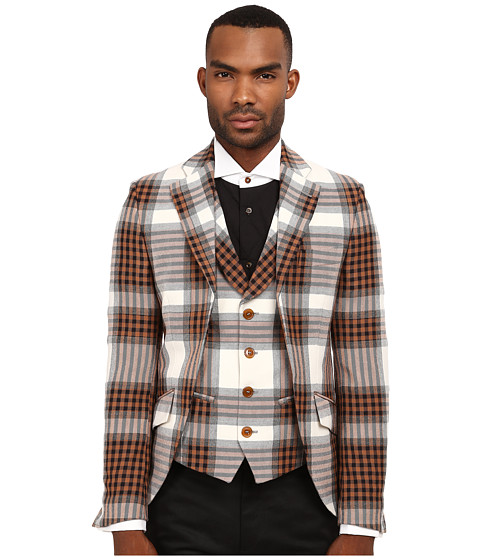 Vivienne Westwood MAN - Democrat Waistcoat Jacket (White Tartan) Men's Jacket