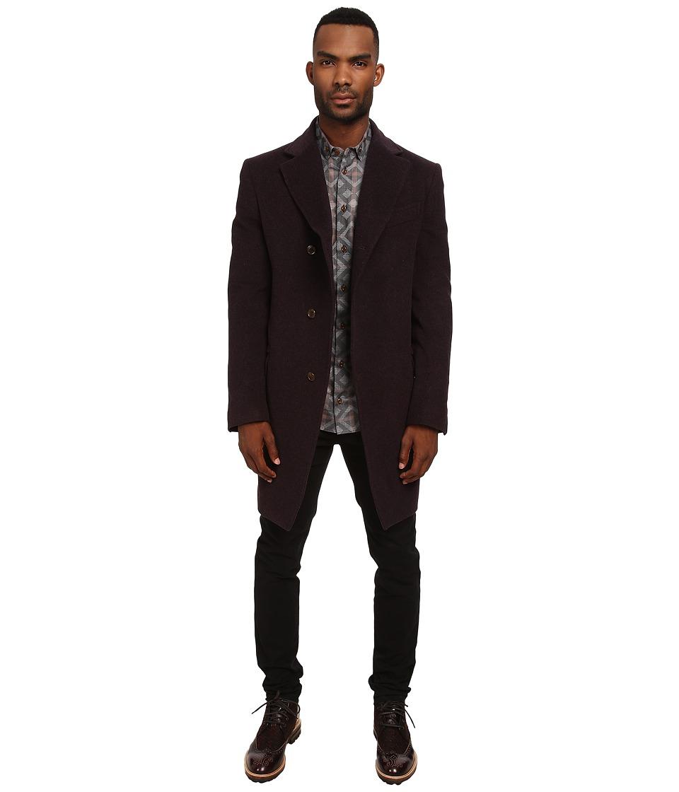 Vivienne Westwood MAN - Classic Melton Asymmetric Coat (Bordeaux Melange) Men's Coat
