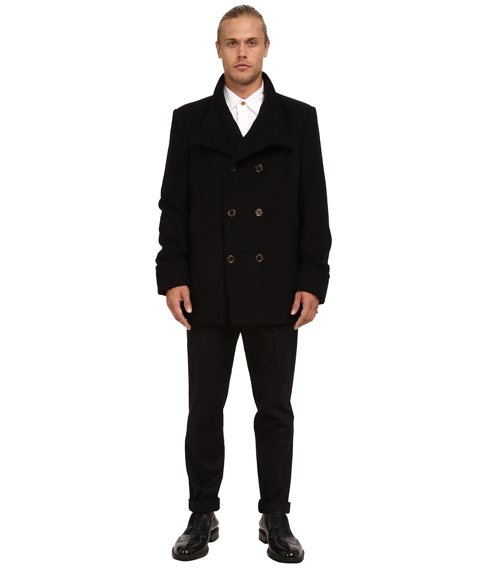 Vivienne Westwood Classic Melton Pea Coat (Black) Men's Coat