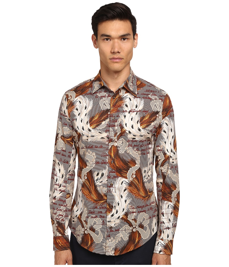 Vivienne Westwood MAN - Ermine Print Classic Stretch Shirt (Multi) Men's Long Sleeve Button Up