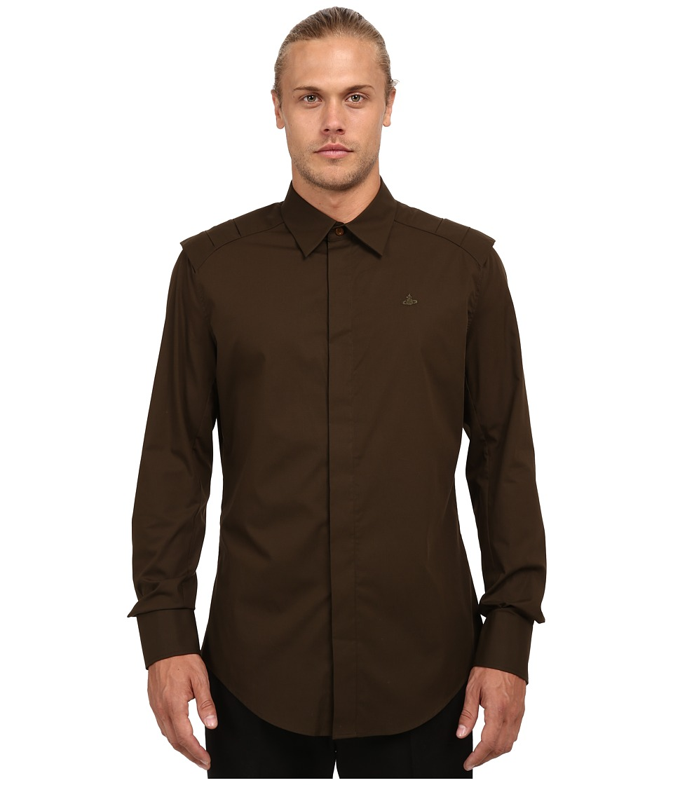 Vivienne Westwood - Stretch Poplin Armour Shirt (Green) Men's Long Sleeve Button Up