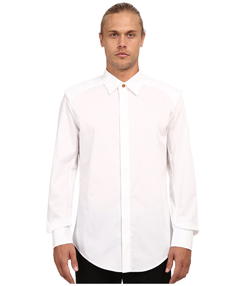 Vivienne Westwood MAN - Stretch Poplin Armour Shirt (White) Men's Long Sleeve Button Up