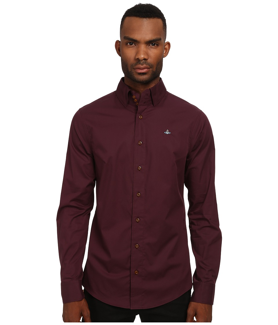 Vivienne Westwood MAN - Stretch Poplin Krall Shirt (Bordeaux) Men's Clothing