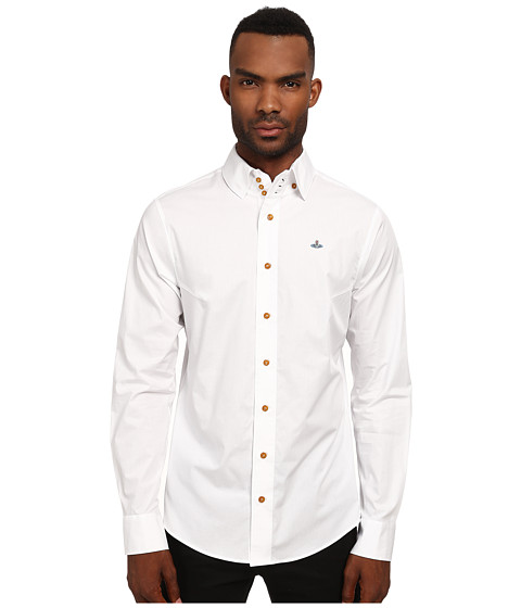 Vivienne Westwood MAN - Stretch Poplin Krall Shirt (White) Men's Clothing