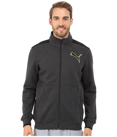 PUMA - Fleece Track Jacket (Dark Gray Heather/Black) Men