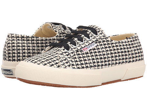 Superga - 2750 Waved Tweed (Black/Off White) Women