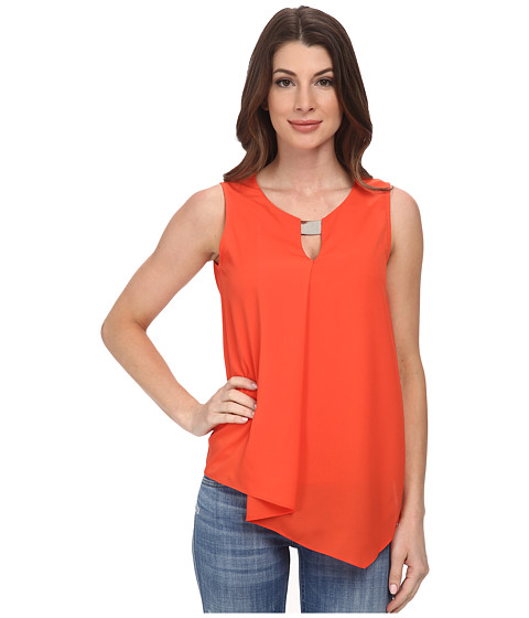 DKNYC - Crepe De Chine Cascade Blouse w/ Metal Neck Trim (Deep Orange) Women's Sleeveless