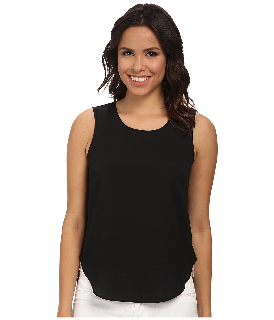 DKNYC - Crepe De Chine Front w/ Sheer Ribbon Stripe Back Blouse (Black) Women's Sleeveless