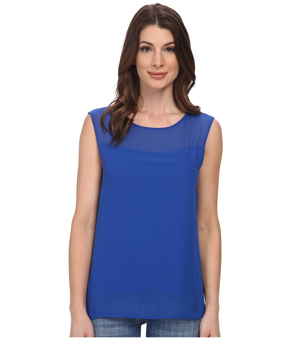 DKNYC - Chiffon Overlay Lightweight Jersey Top (Ultramarine) Women's Sleeveless