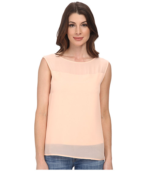 DKNYC - Chiffon Overlay Lightweight Jersey Top (Guava) Women's Sleeveless