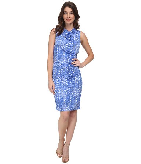 DKNYC - Pebbles Sleek Jersey Ruched Dress (Bay Blue) Women's Dress