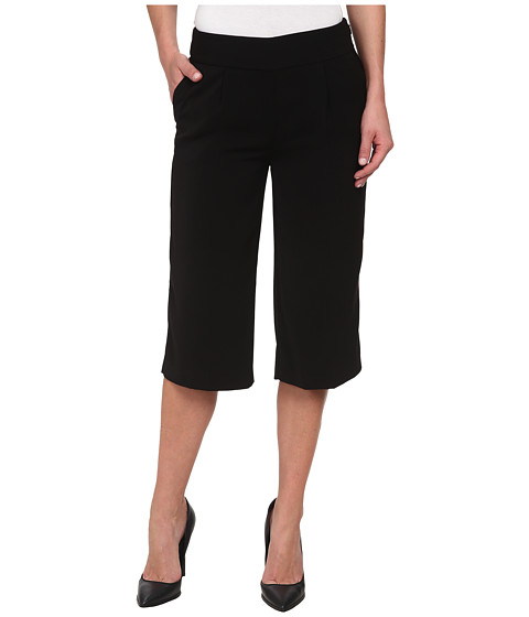 DKNYC - Tech Crepe and Washed Wide Leg Crop Tech Crerepants (Black) Women's Casual Pants