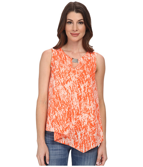 DKNYC - Texture Crepe De Chine Cascade Blouse w/ Metal Neck Trim (Deep Orange) Women