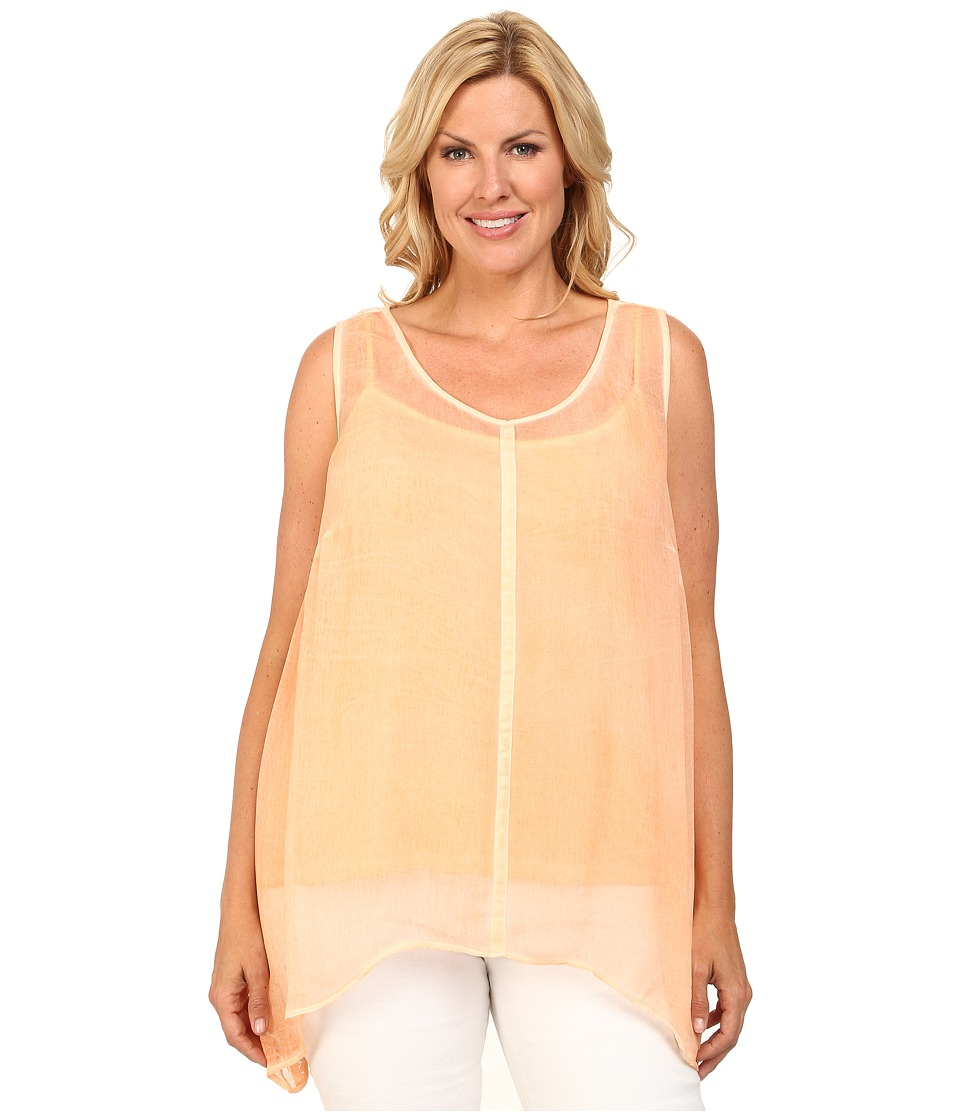 DKNY Jeans - Plus Size Bemberg Lace Tank Top (Grapefruit) Women's Sleeveless