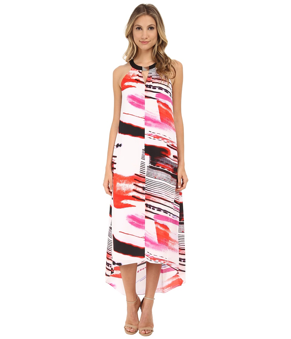 DKNYC - Lightspeed Print Printed Georgette Halter Maxi Dress (Vermillion) Women