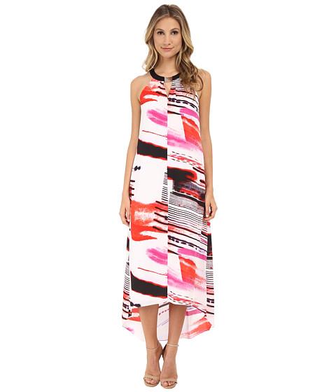 DKNYC - Lightspeed Print Printed Georgette Halter Maxi Dress (Vermillion) Women