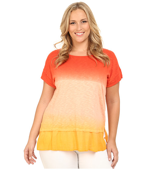 DKNY Jeans - Plus Size Ombre Summer Sweatshirt w/ Woven Trim (Phoenix) Women's Blouse