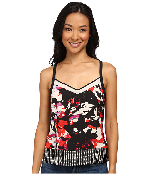 DKNYC - Lush Floral Print Printed Crepe De Chine Chiffon Pieced Cami (Vermillion) Women's Sleeveless