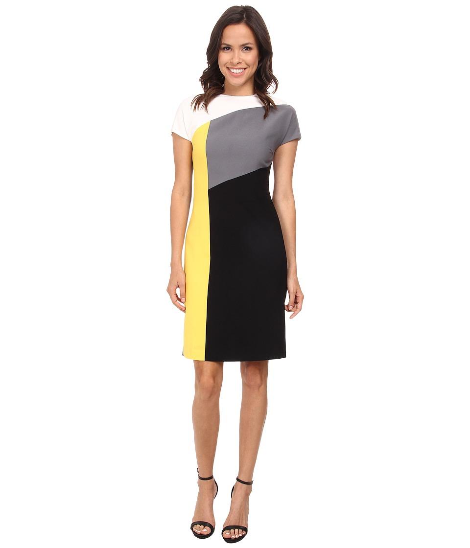 Anne Klein - Crepe Cap Sleeve Angles Seam Sheath (Grey Multi) Women's Dress