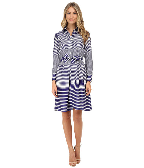 Anne Klein - Printed Cotton Sateen Shirtdress (White/Ultramarine) Women's Dress