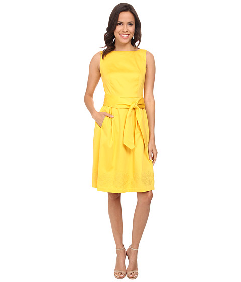 Anne Klein - Cotton Embroidered Fit Flare Dress (Yellow) Women's Dress