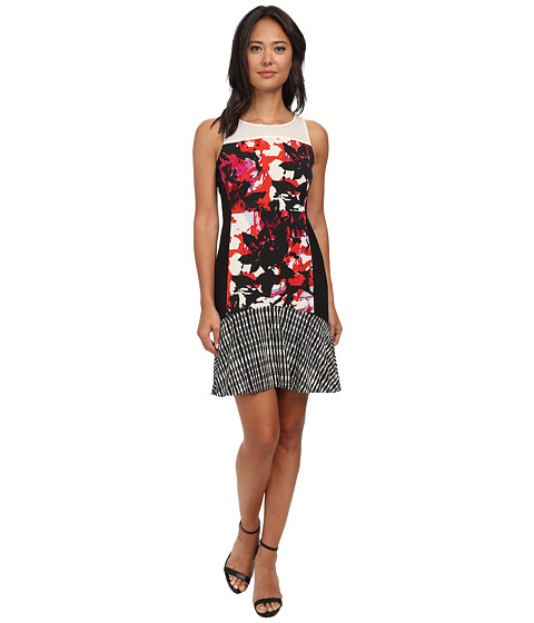 DKNYC - Lush Floral Print Printed Crepe De Chine Mixed Dress w/ Flounce Hem (Vermillion) Women
