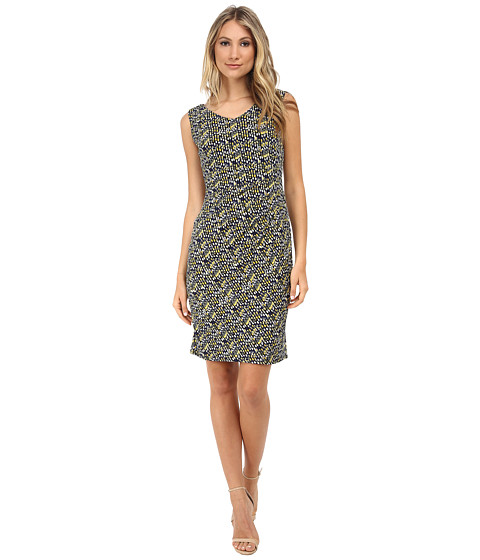 Anne Klein - Printed Jersey V-Neck Side Rouched Dress (Yellow Multi) Women's Dress