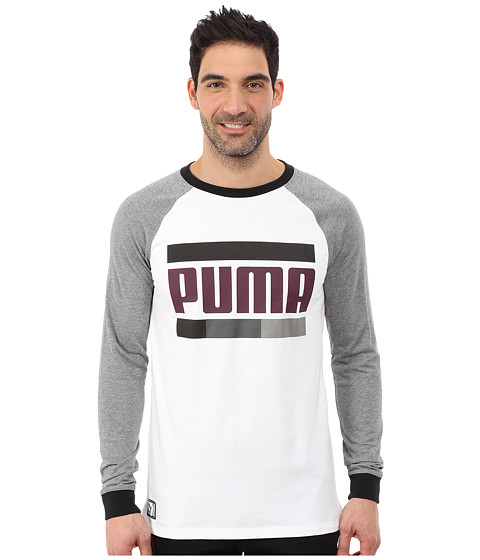 PUMA - Blocked Raglan (White/Medium Gray Heather) Men