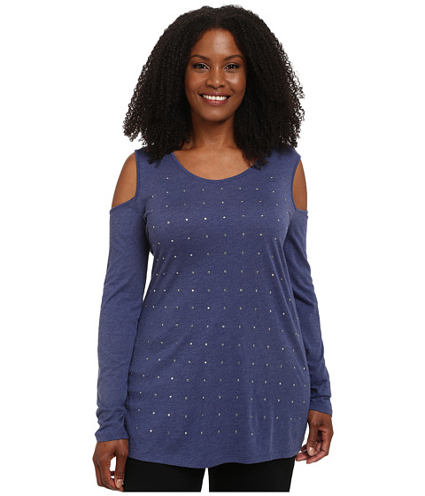 DKNY Jeans - Plus Size Cold Shoulder Studded Top (Ink Heather) Women's Long Sleeve Pullover