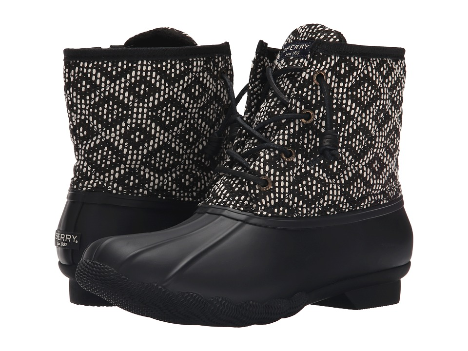 Sperry Top-Sider - Saltwater Prints (Black/White/Tribal Weave) Women's Rain Boots