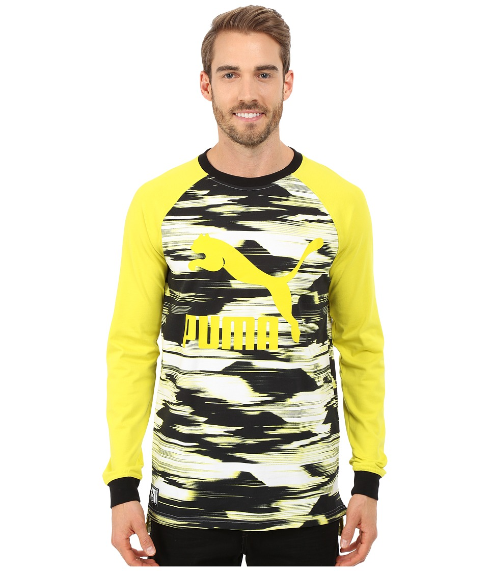 PUMA - Graphic Raglan (Sulphur Spring/Black/Print) Men's Clothing