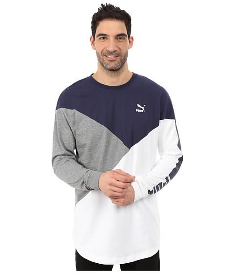 PUMA - Cut Line Long Sleeve Top (Peacoat/White/Medium Gray Heather) Men