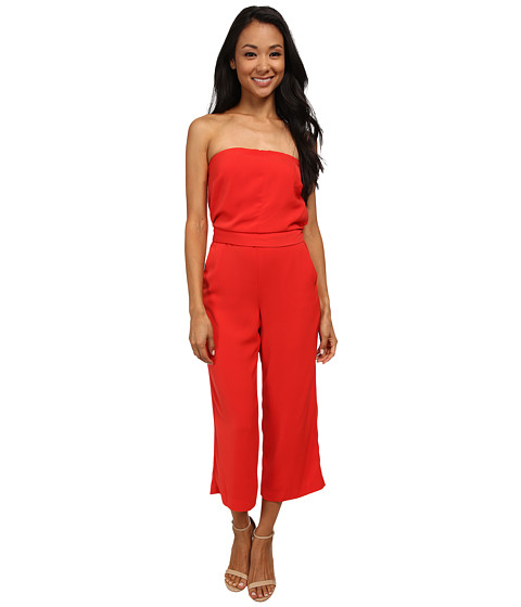 DKNYC - Tech Crepe and Washed Jumpsuit w/ Removable Straps (Vermillion) Women