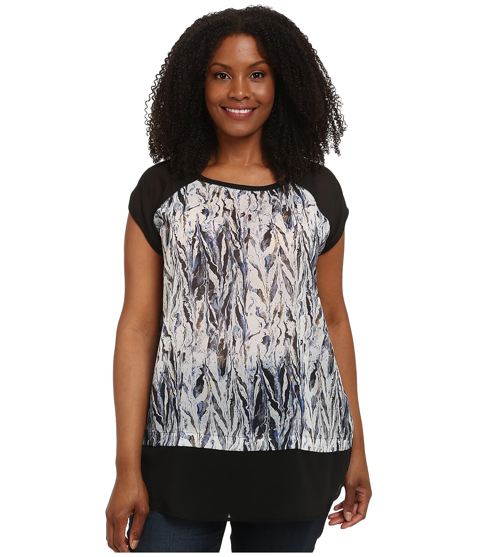 DKNY Jeans - Plus Size Oil Spill Print Colorblock Top (Lapis) Women's Clothing