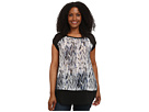DKNY Jeans Plus Size Oil Spill Print Colorblock Top