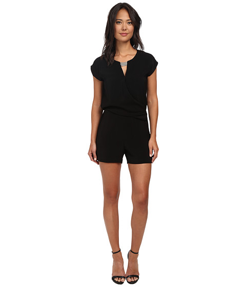 DKNYC - Tech Crepe and Washed Romper w/ Metal Neck Trim (Black) Women's Jumpsuit & Rompers One Piece