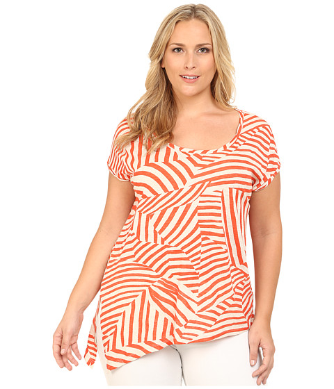 DKNY Jeans - Plus Size Mixed Stripe Side Tie Top (Phoenix) Women's Clothing