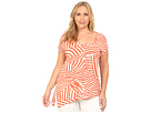 DKNY Jeans Plus Size Mixed Stripe Side Tie Top