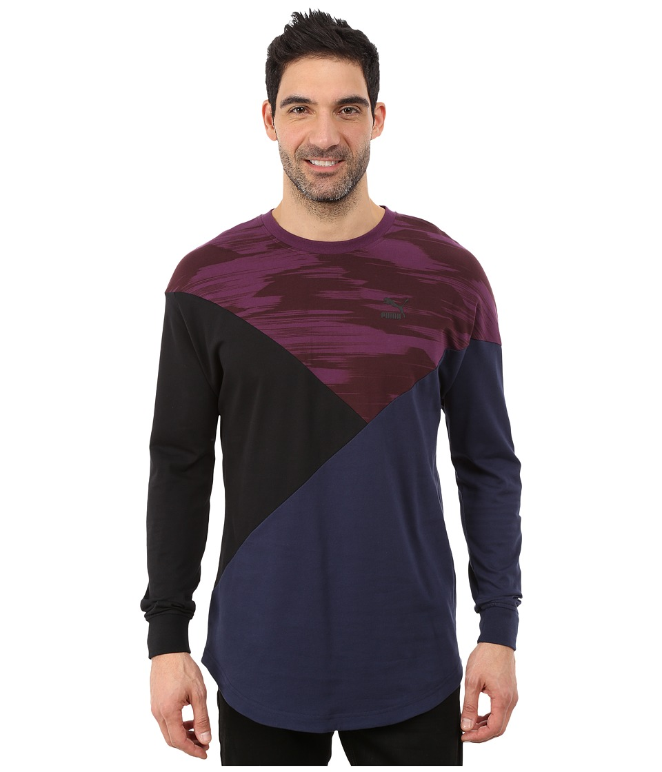 PUMA - Cut Line Long Sleeve Top (Italian Plum/Peacoat/Black) Men's Long Sleeve Pullover