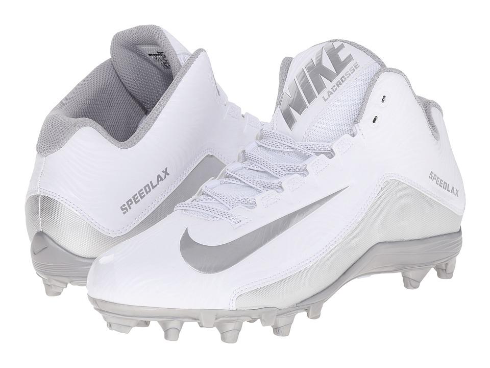 Nike - Speedlax 5 (White/Metallic Silver/Metallic Silver) Men's Cleated Shoes