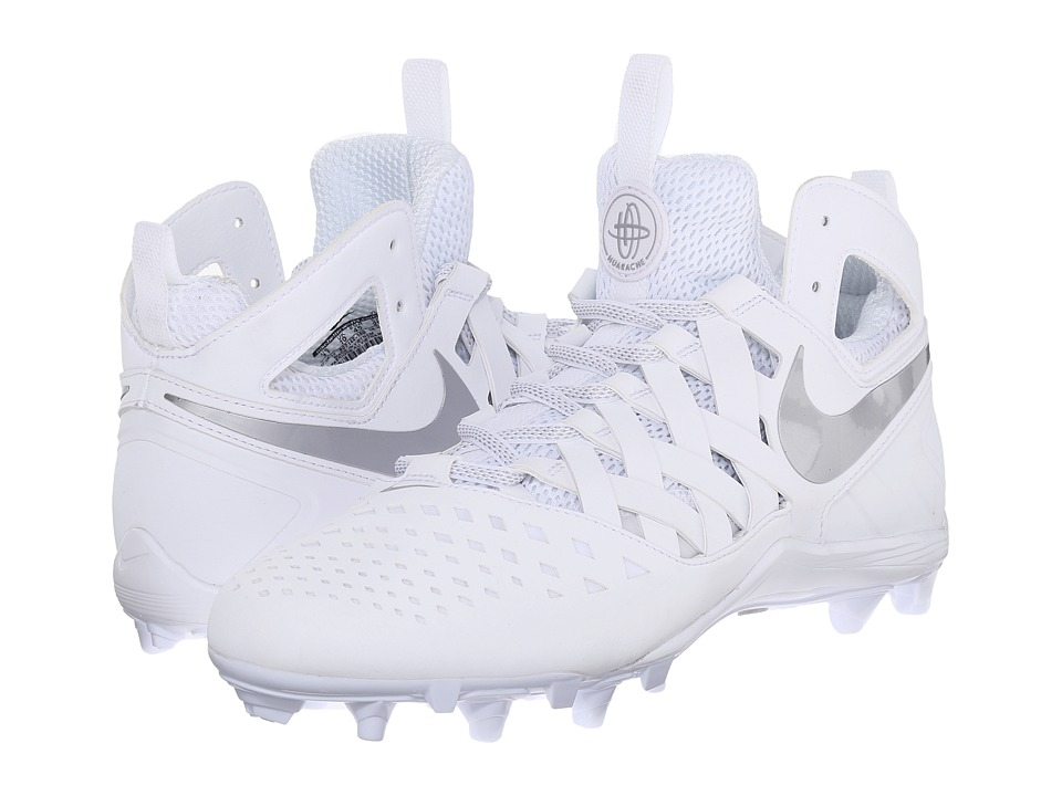 Nike - Huarache V Lax (White/Metallic Silver) Men's Cleated Shoes
