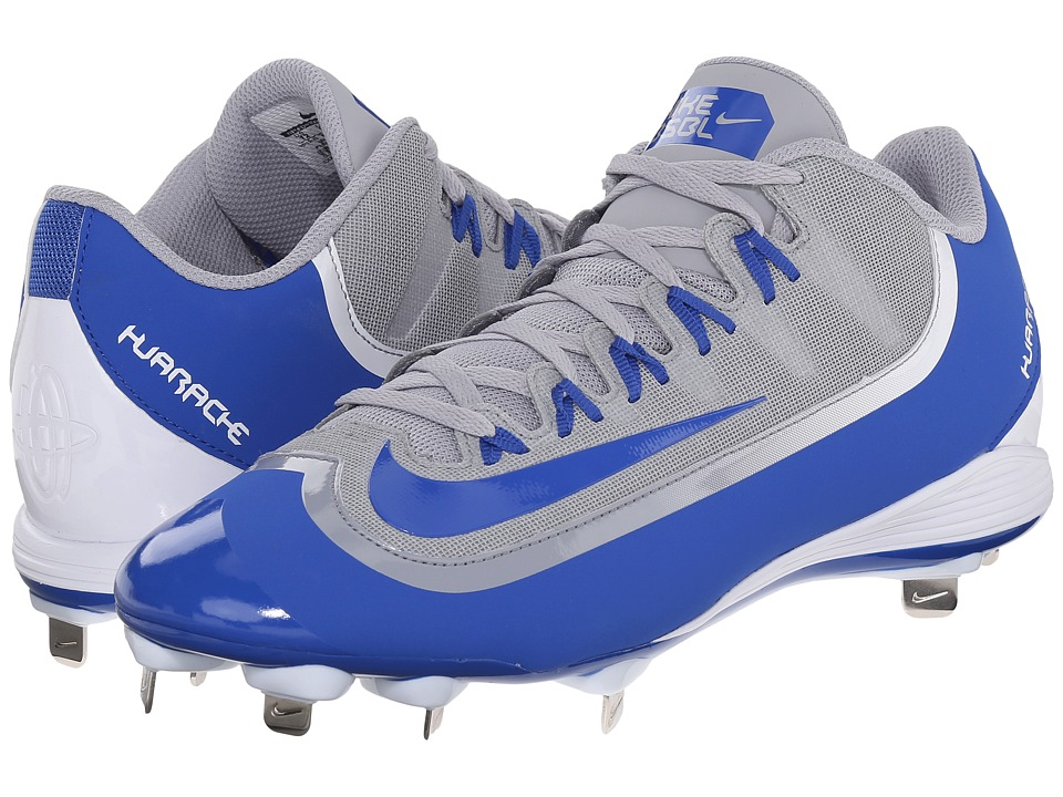 Nike - Huarache 2KFilth Pro Low (Wolf Grey/White/Game Royal) Men's Cleated Shoes