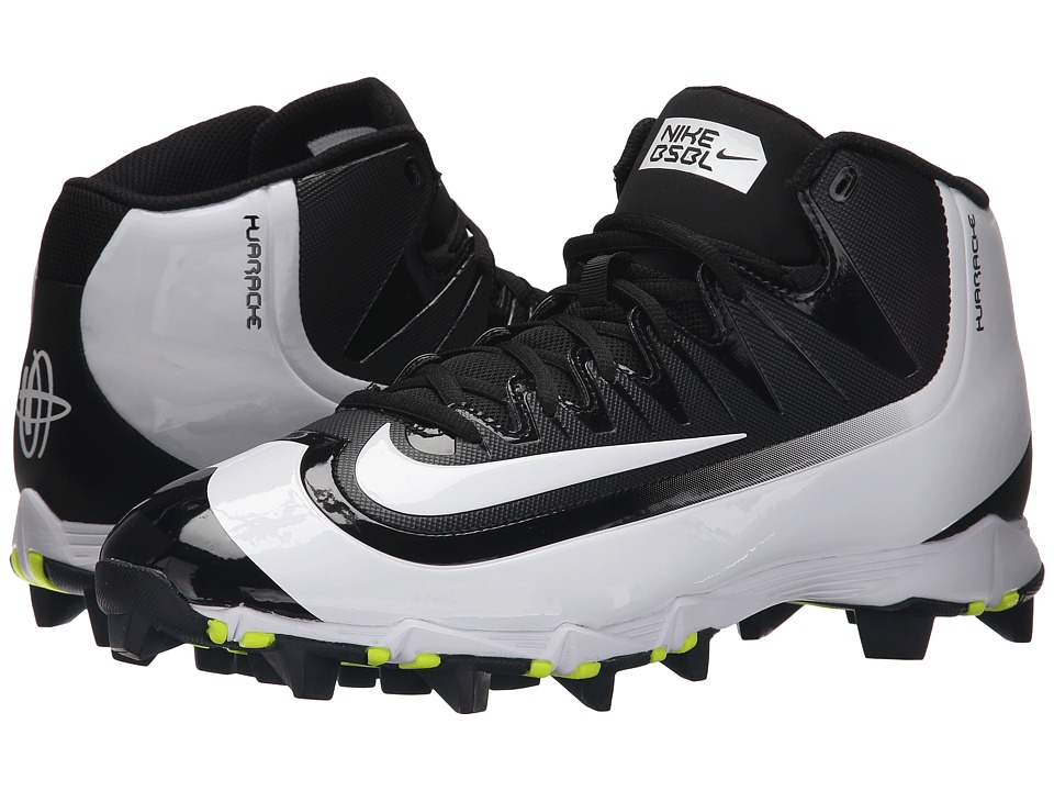Nike - Huarache 2KFilth Keystone Mid (Black/Volt/White) Men's Cleated Shoes