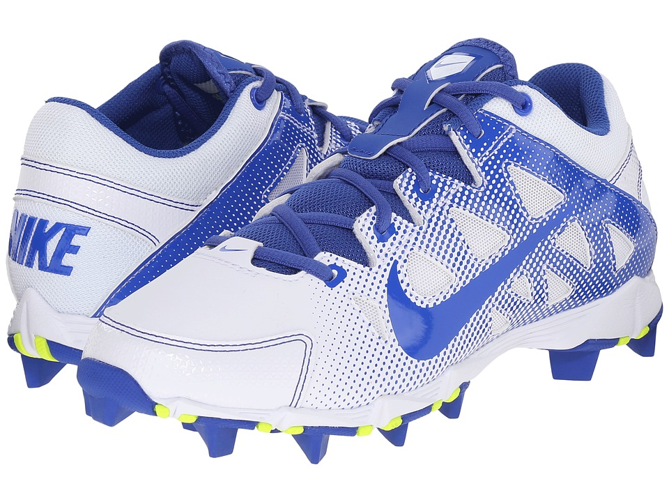 Nike - Hyperdiamond Keystone (White/White/Game Royal) Women's Cleated Shoes