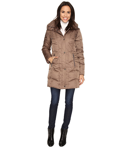 Kenneth Cole New York - Quilted Down Walker with Faux Fur Trim Hood (Canyon) Women's Coat