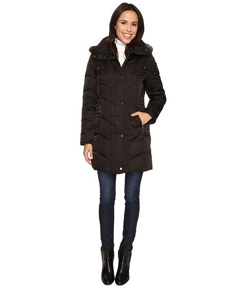 Kenneth Cole New York - Quilted Down Walker with Faux Fur Trim Hood (Black) Women's Coat