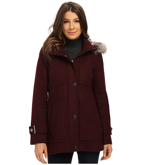 Kenneth Cole New York - Wool Babydoll Coat with Faux Fur Trim Hood (Rum Raisin) Women's Coat