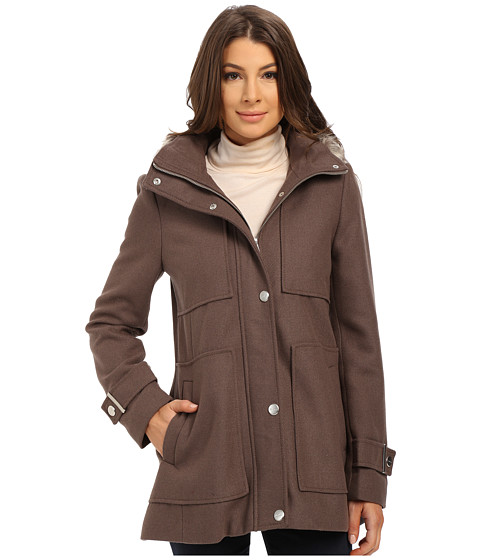 Kenneth Cole New York - Wool Babydoll Coat with Faux Fur Trim Hood (Coffee) Women's Coat