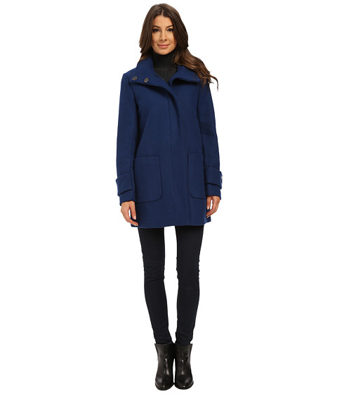 Kenneth Cole New York - Funnel Neck Zip Front Wool Coat (Blueberry) Women